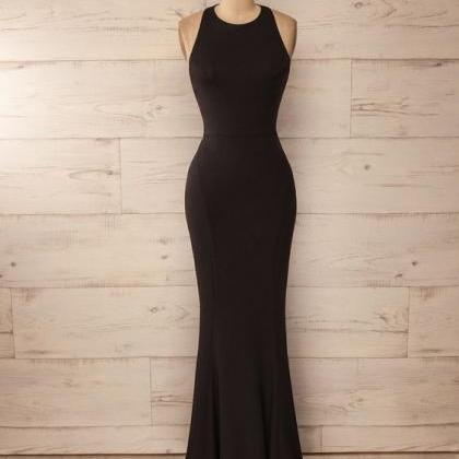 Halter Long Black Prom Dress with O..