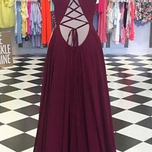 Plunging Neck Long Prom Dress with ..