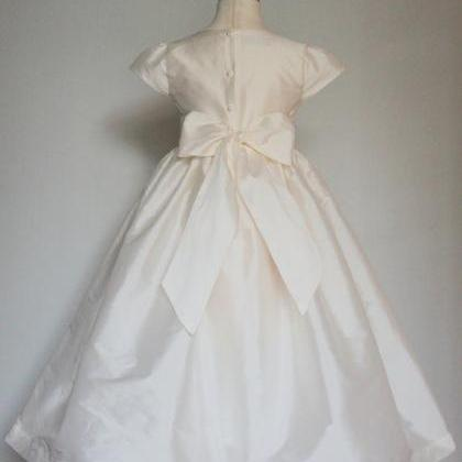 Ivory Satin Flower Girl Dress with ..