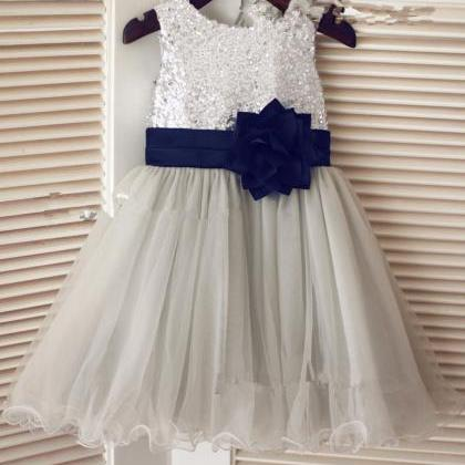 Grey/Navy Flower Girl Dress with Se..