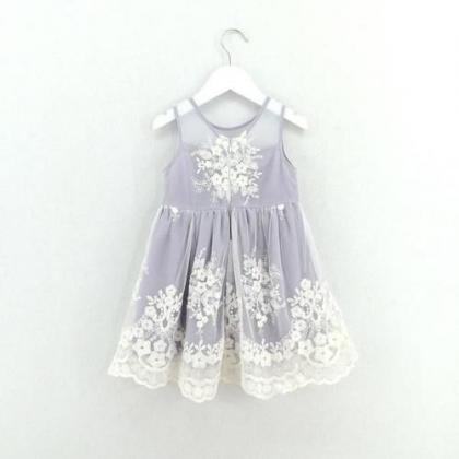 Lavender Flower Girl Dress with Lac..