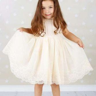 Cute Empire Waist Ivory Flower Girl..