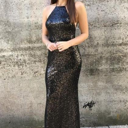 Floor Length Black Sequin Prom Dres..