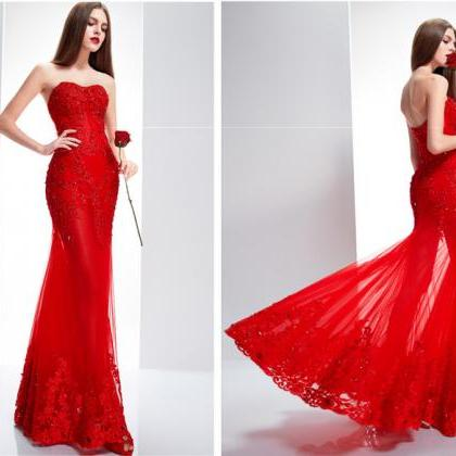 Women's Red Lace Floor Length Forma..