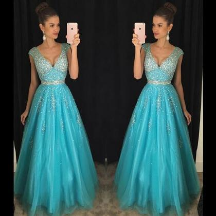 V-neck Floor Length Evening Gown Pr..