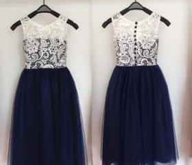 Navy Skirt Ivory Che..