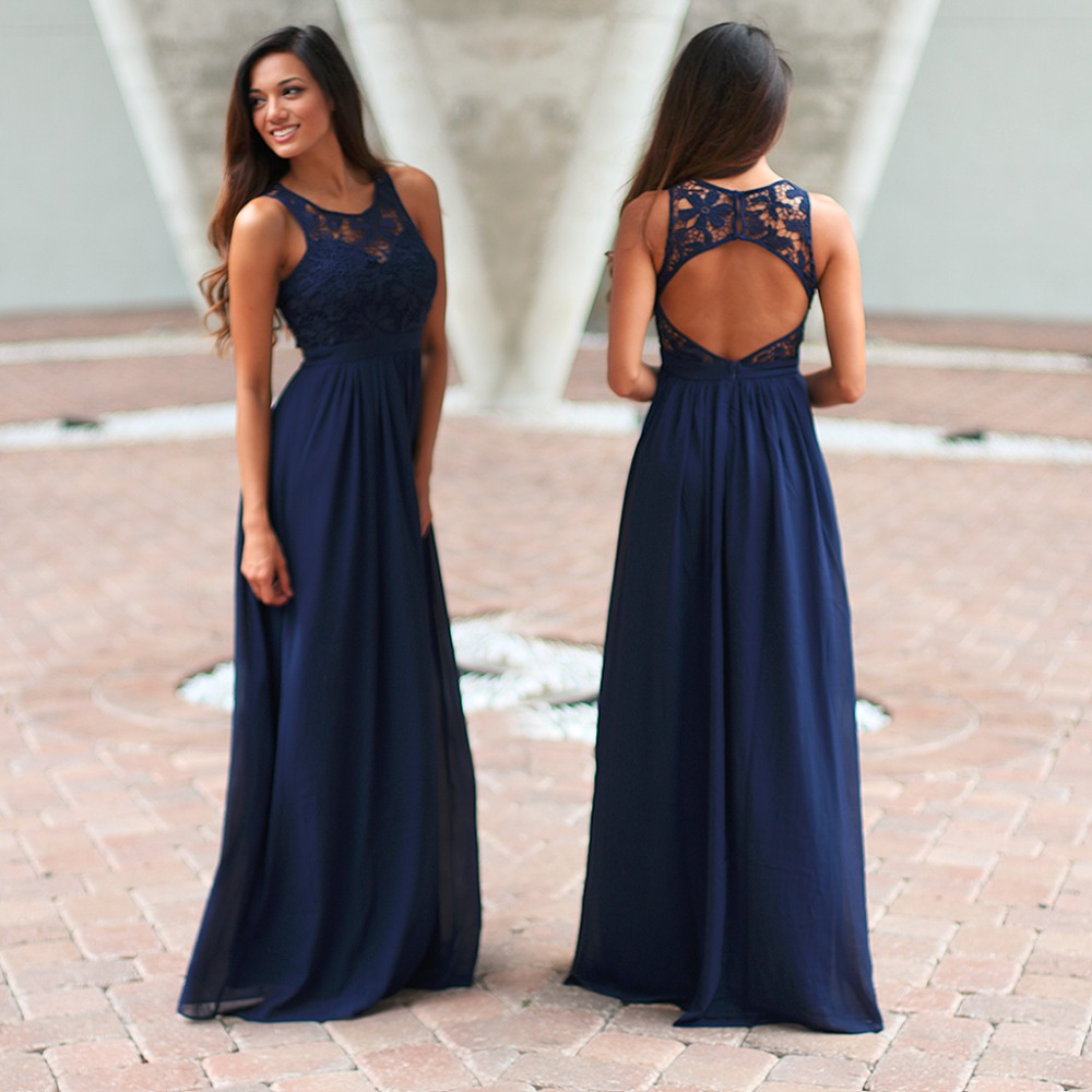 Navy Blue Maxi Dress Bridesmaid Dres With Open Back on Luulla