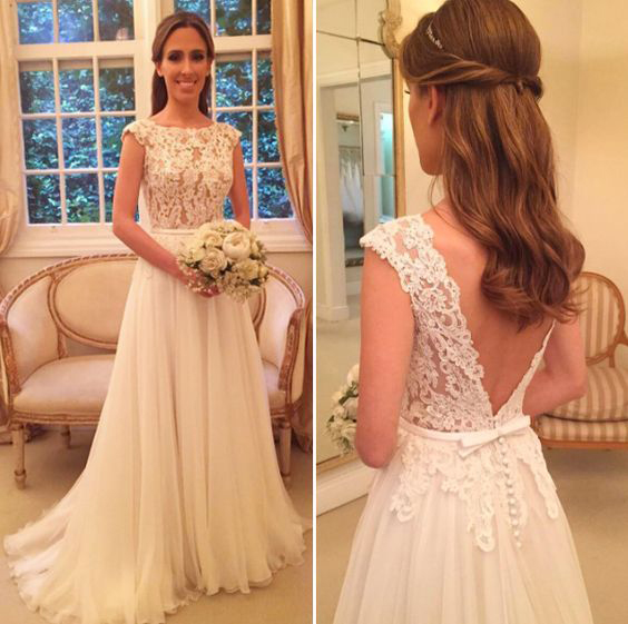 Sheer Neck Lace Chiffon Wedding Dress With Open V Back