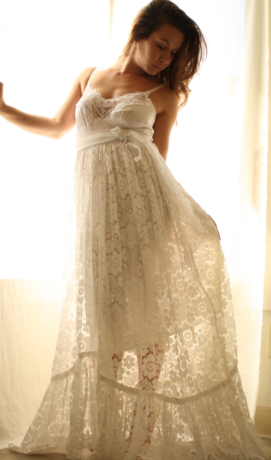 Rustic Romance Beach Wedding Gown In Vintage Lace on Luulla