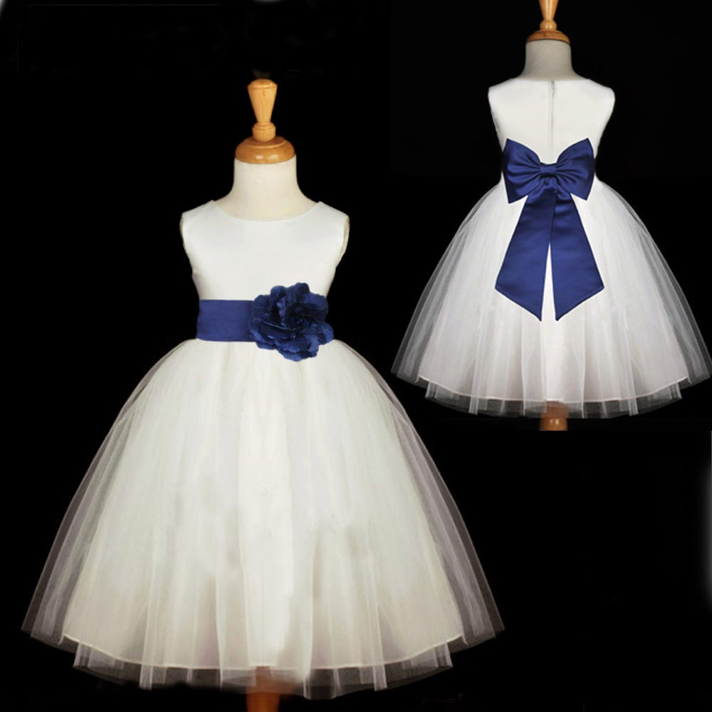 White Flower Girl Dress with Navy Bow Sash