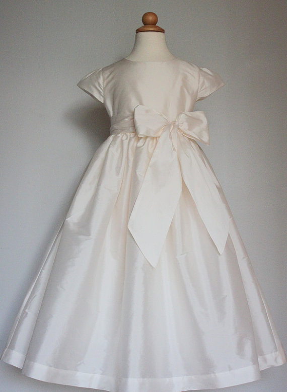 Ivory Satin Flower Girl Dress with Bow Sash