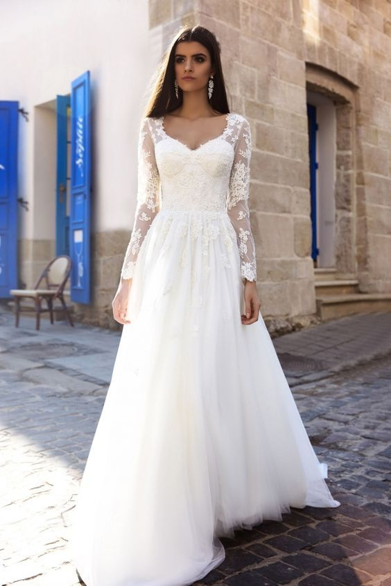 Sheer Long Sleeves White Wedding Dress