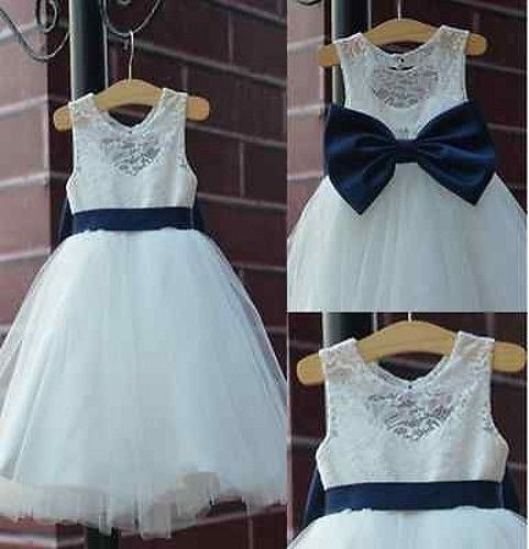 Ivory flower girl dress with navy back bow on luulla ivory flower girl dress with navy back bow mightylinksfo