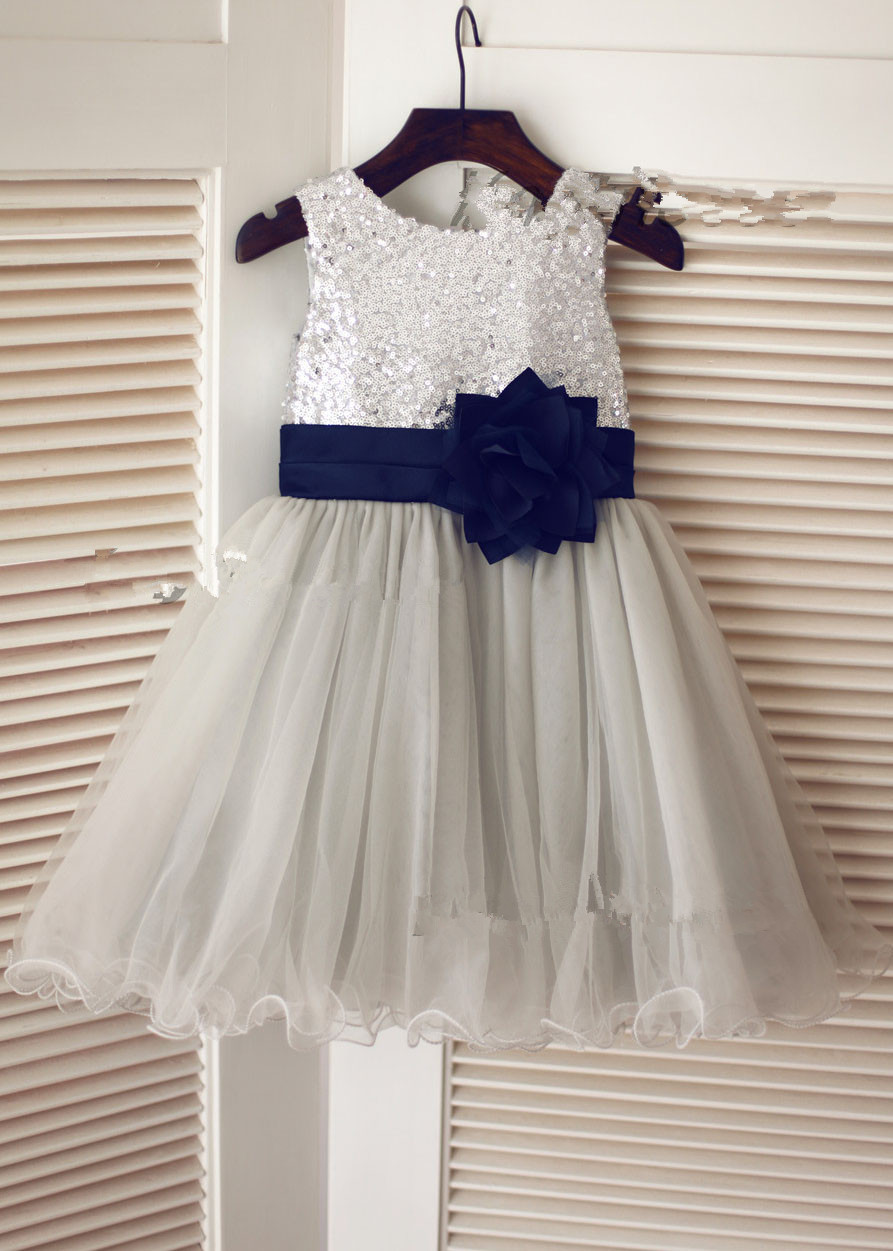 Grey/Navy Flower Girl Dress with Sequin Bodice