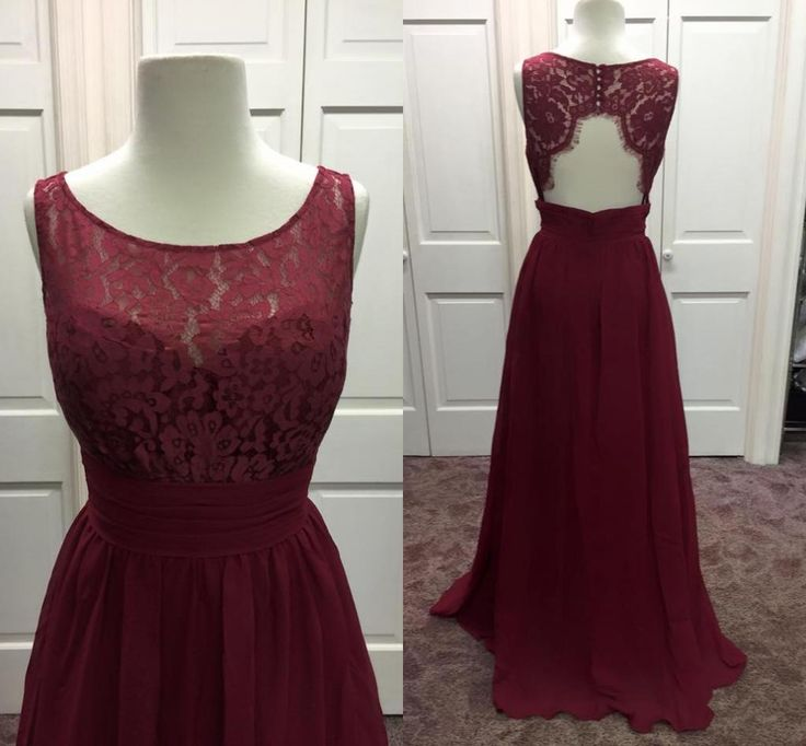 59c023eec60c Sheer Neck Long Chiffon Burgundy Prom Dress With Open Back on Luulla
