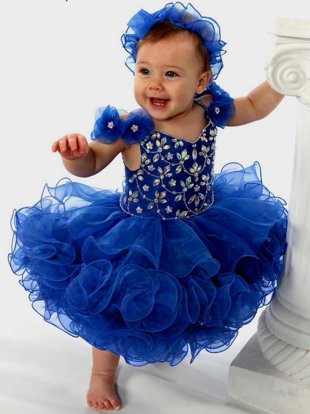 8c0b1249a Royal Blue Infant Toddler Girl Dress With Crystals Beads on Luulla
