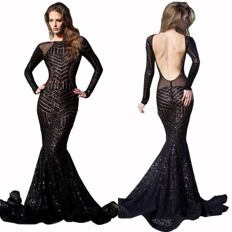 Long Sleeves Black Sequin Prom Dress With Open Back on Luulla