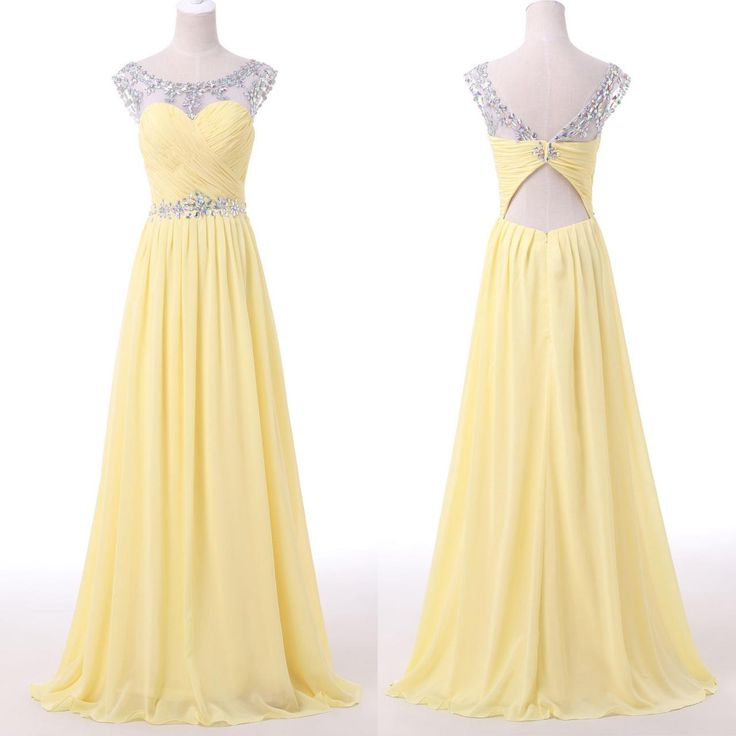 Sheer Sweetheart Neckline Long Yellow Prom Dress On Luulla