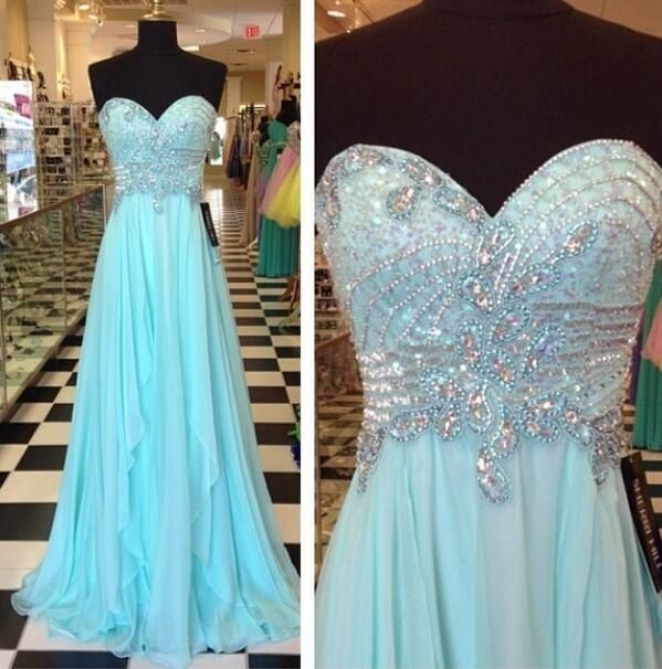 Strapless Long Beaded Chiffon Prom Dress