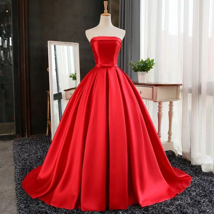 Strapless Red Ball Gown With Corset Back On Luulla