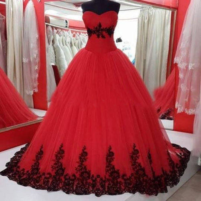 Red Ball Gown Dress With Black Lace Trim on Luulla