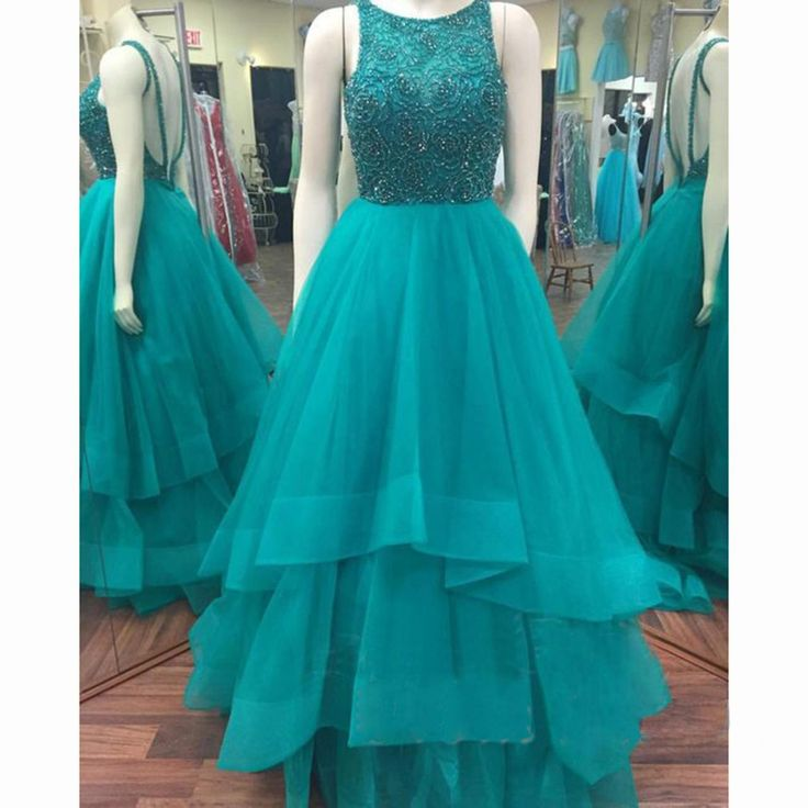 Open Back Prom Dress with Tiered Skirt