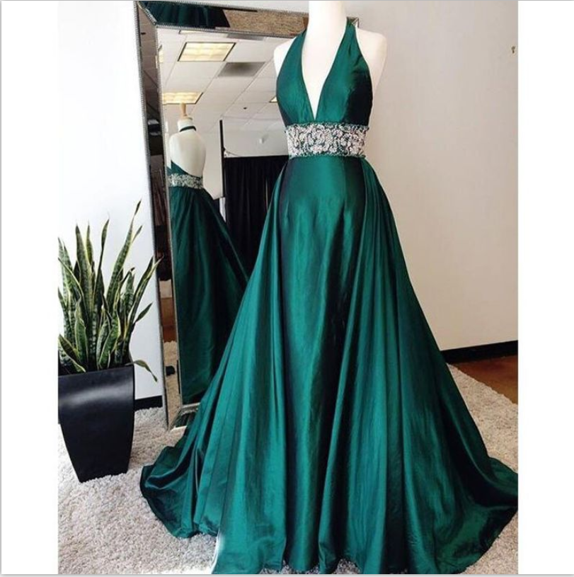 Halter Dark Green Prom Dress with Open Back