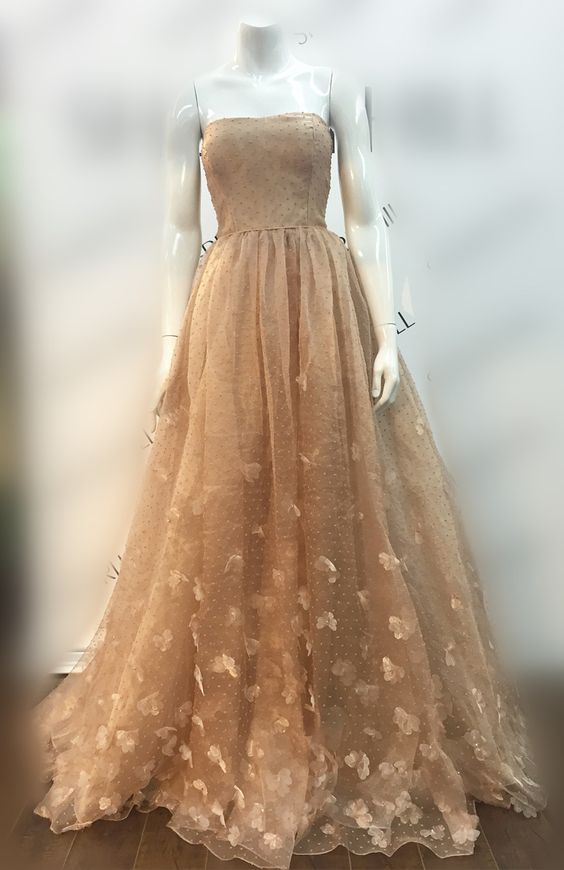 Strapless Polk Dot Prom Dress with Petals