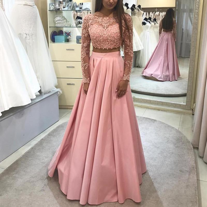 Two Pieces Prom Dress With Long Sleeves Crop Top On Luulla
