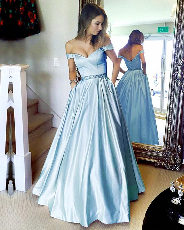 Off The Shoulder Evening Dress Baby Blue Prom Dress On Luulla