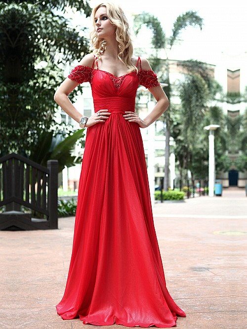 Cold Shoulders Red Prom Dress
