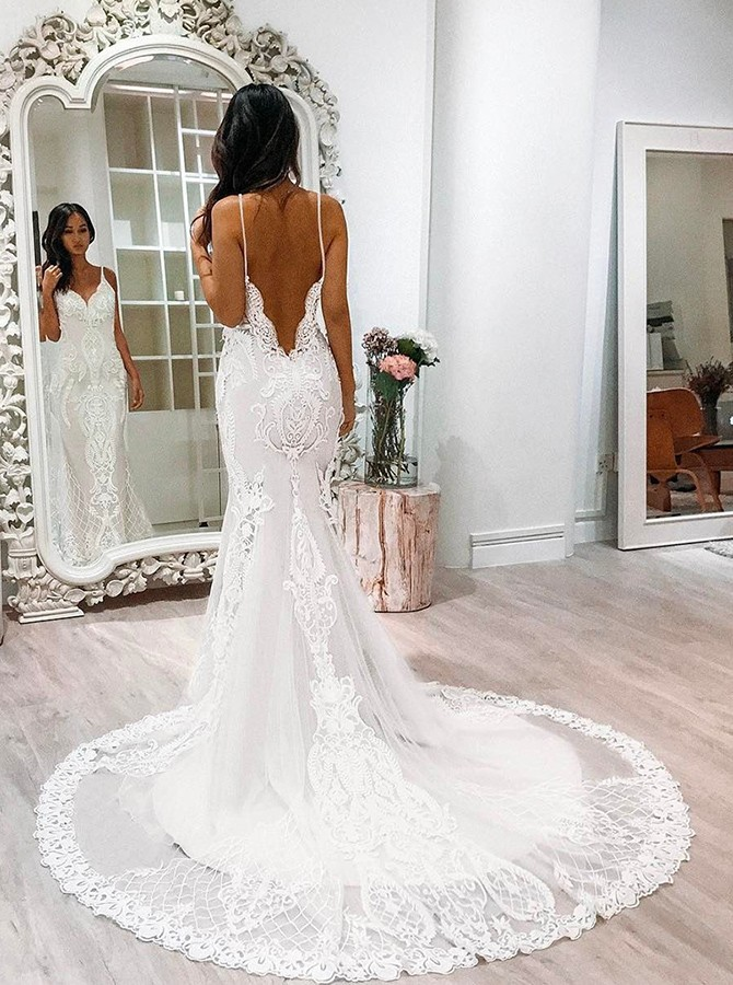Spaghetti Straps Lace Wedding Dress With Low Back