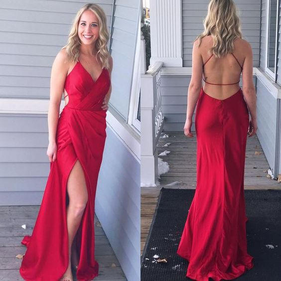 Red String Prom Dress