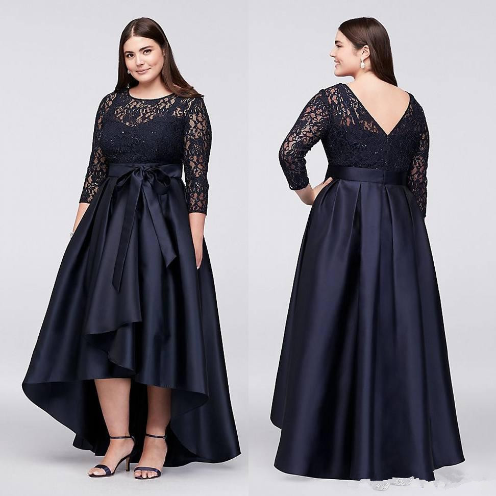 3/4 SLEEVES PLUS SIZE BLACK SEMI-FORMAL DRESS WITH LACE BODICE on Luulla