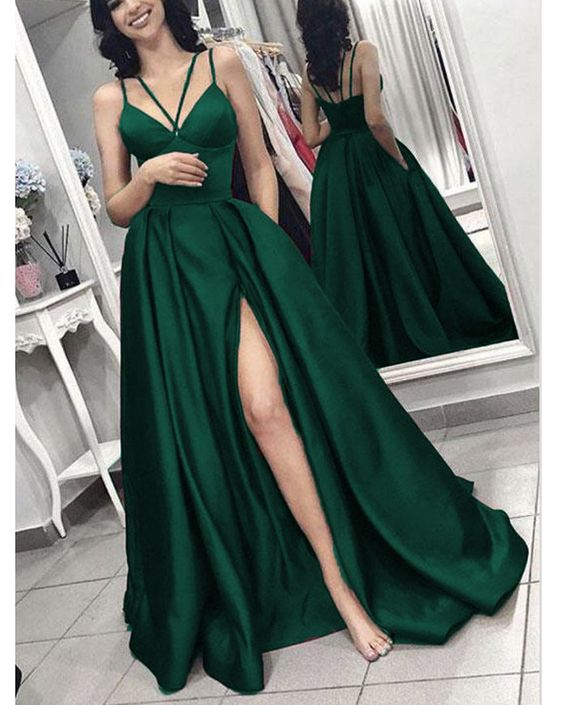 Hunter Green Long Evening Gown with Slit