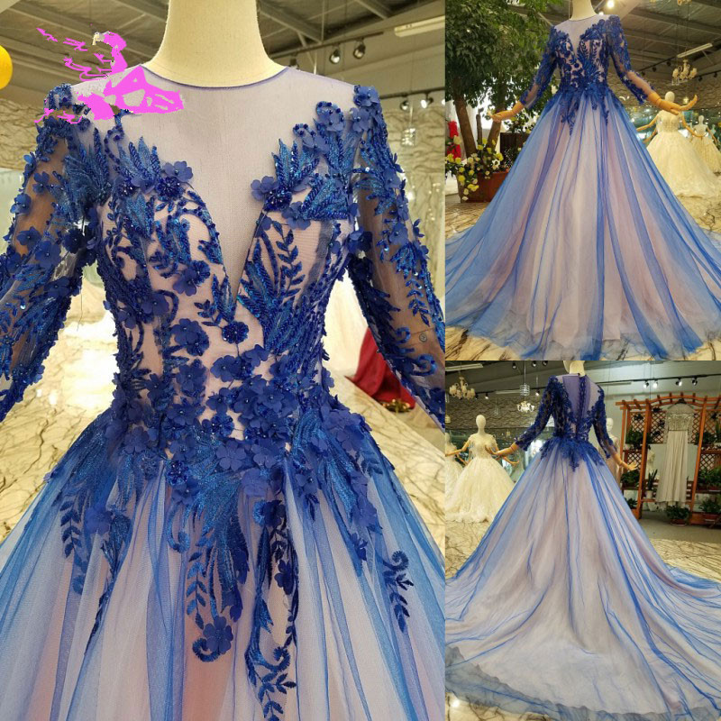 Sheer Neck Evening Gown Pageant Dress with Long Sleeves Formal Occasion Wear