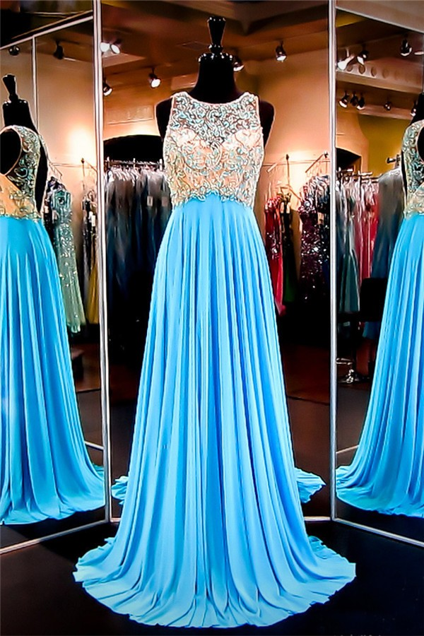 Sheer Sweetheart Beaded Long Chiffon Prom Dress with Keyhole Back
