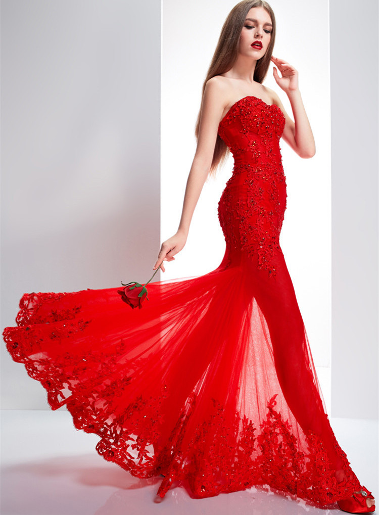 Women's Red Lace Floor Length Formal Occasion Dress Party Dress Evening Dress Prom Gown