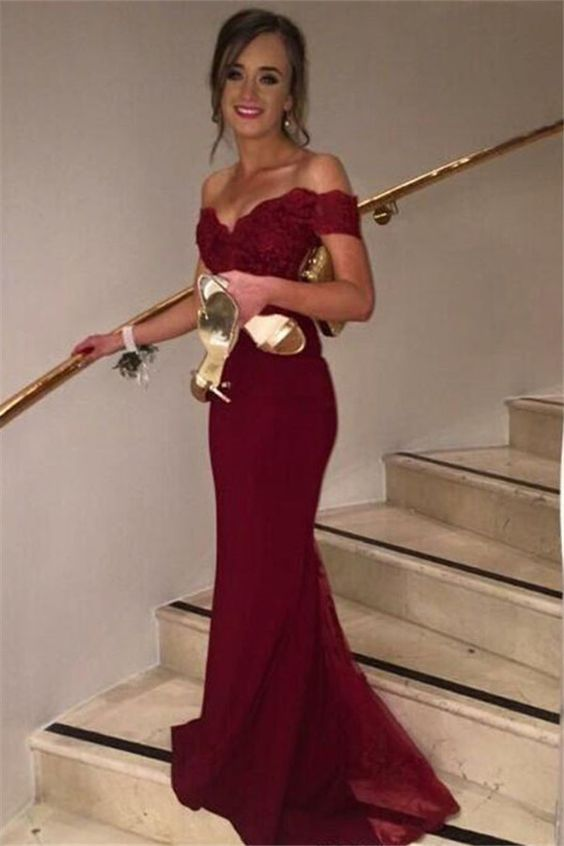 57b75e5cfec Wine Red Off-shoulder Mermaid Trumpet Formal Occasion Dress Evening Gown