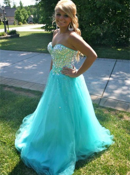 Floor Length Sweetheart Fully Beaded Bodice Corset Ball Gown Prom ...