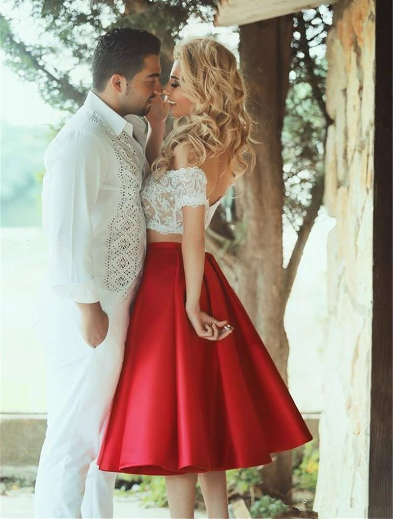 2 Pieces Dress Off-shoulder Lace Top and Red Satin Skirt Dress
