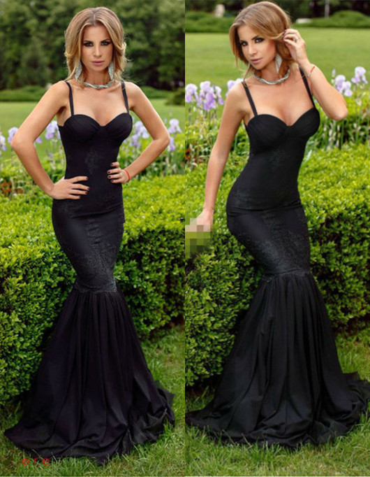 Black Spaghetti Straps Mermaid Prom Dress