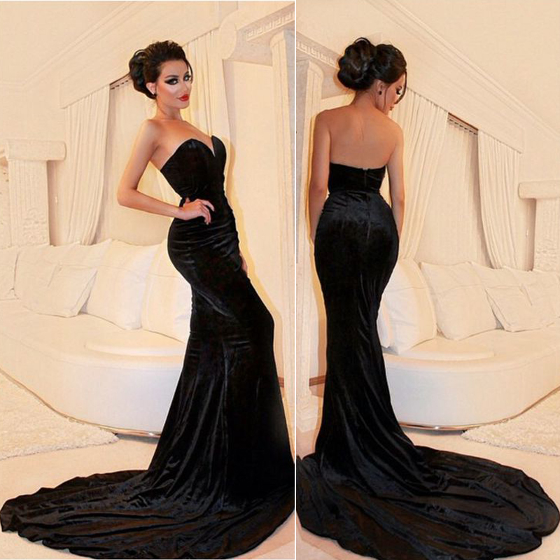 Sleeveless Black Velvet Prom Dress Formal Occasion Evening Gown
