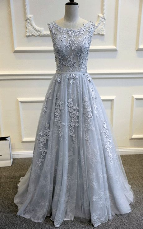 Grey tulle wedding dress with lace on luulla grey tulle wedding dress with lace junglespirit Choice Image