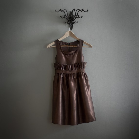 Brown Sleeveless Top and Pleated Skirt Satin Flower Girl Dress
