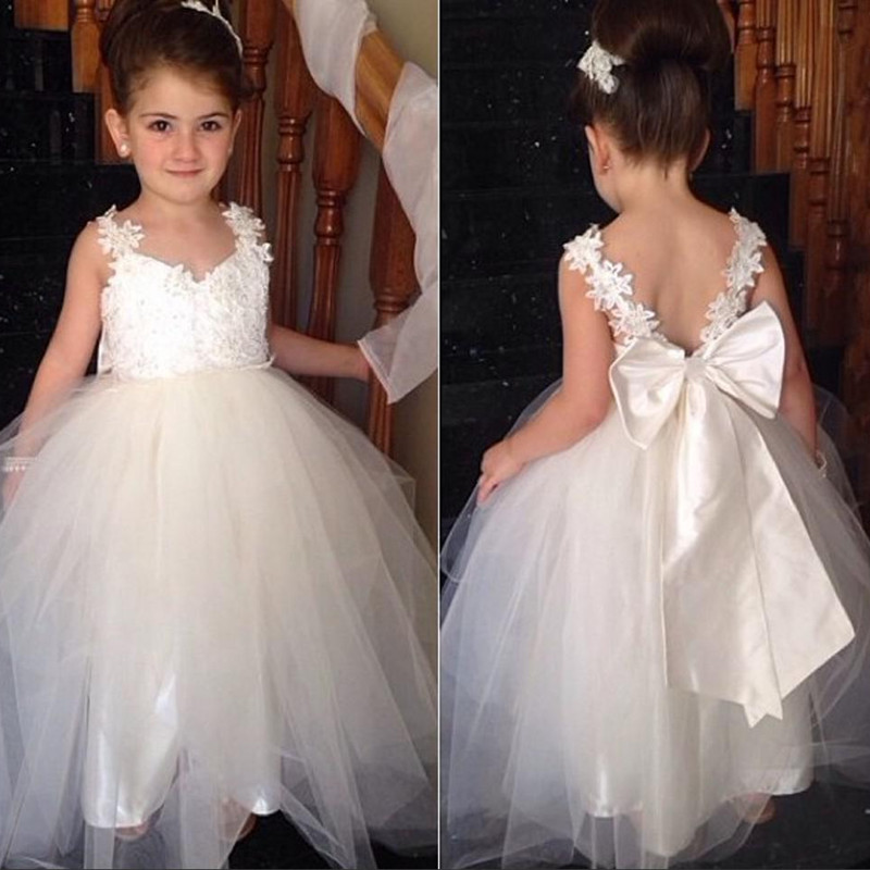 Flower Girl Dress with Bow Tie