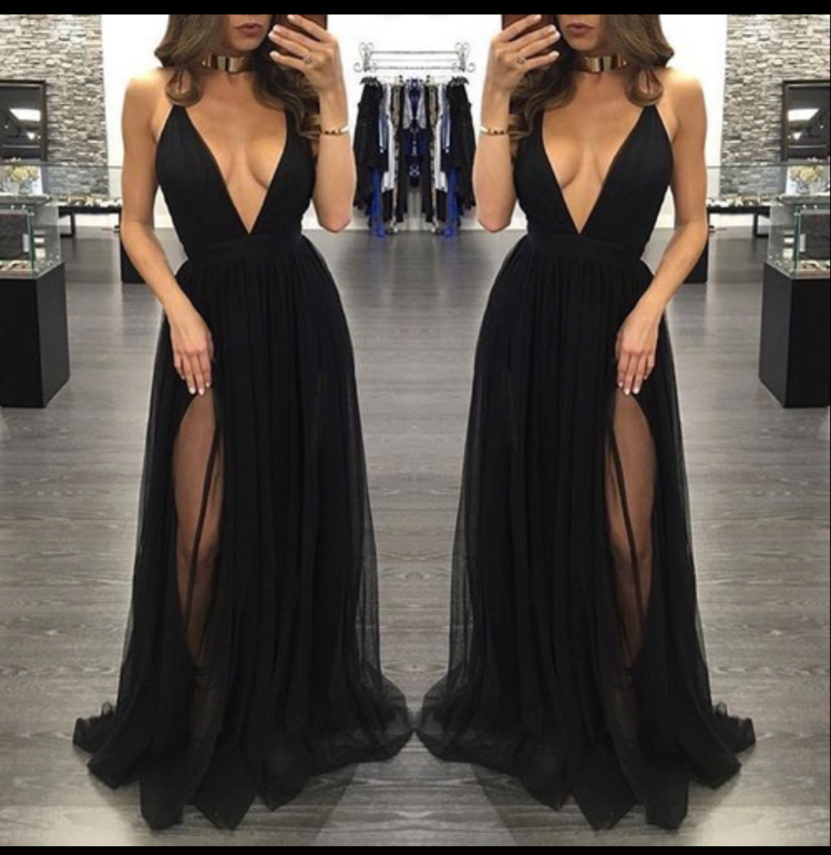 V Neck Black Maxi Dress With Side Slit On Luulla