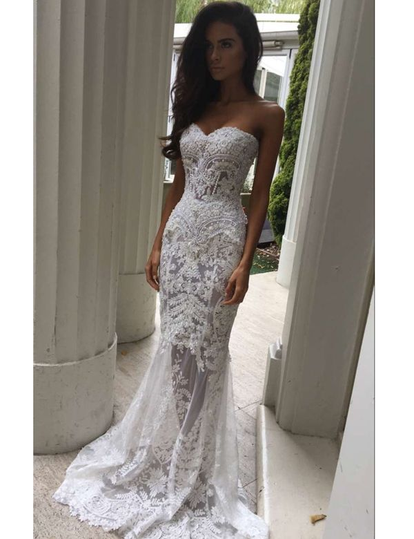 Modern Sweetheart Appliques Lace Mermaid Wedding Dresses on Luulla