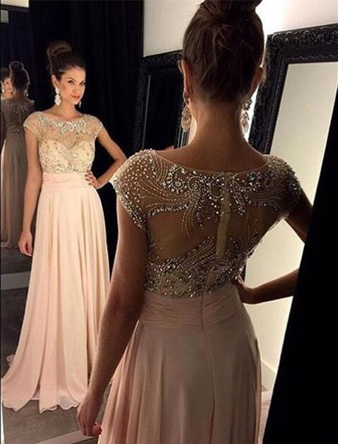 Illusion Sweetheart Cap Sleeves Prom Dresses 2017