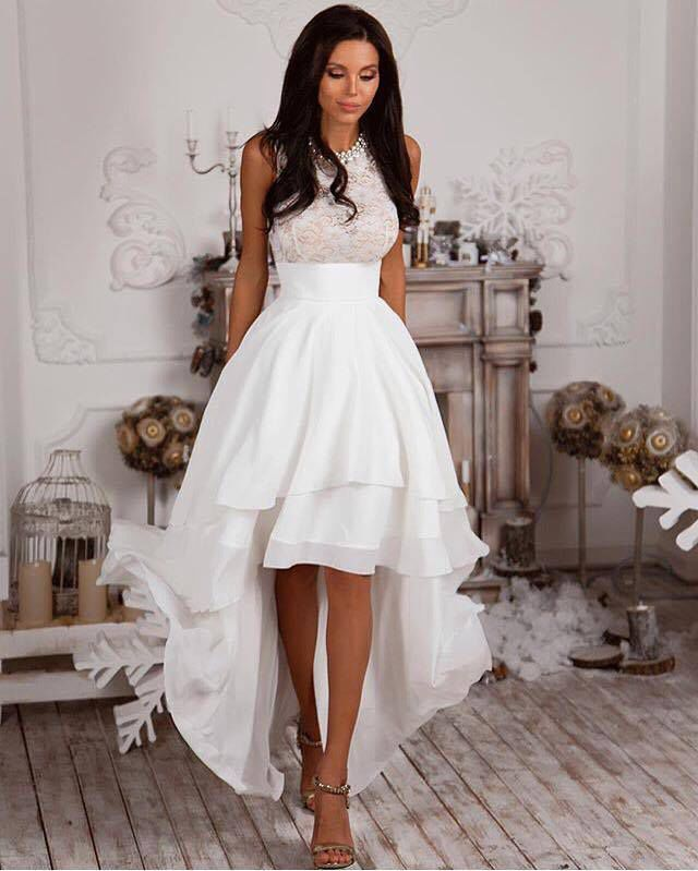 High Low White Prom Dress Homecoming Dress on Luulla